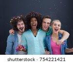 confetti party multiethnics... | Shutterstock . vector #754221421