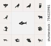 set of 13 editable zoology...   Shutterstock .eps vector #754225981