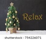 christmas tree  text relax ... | Shutterstock . vector #754226071