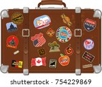 old travel suitcase | Shutterstock . vector #754229869