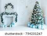 christmas living room with a... | Shutterstock . vector #754231267