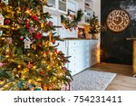 christmas living room with a... | Shutterstock . vector #754231411