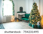 christmas living room with a... | Shutterstock . vector #754231495