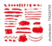 red vector brush strokes of... | Shutterstock .eps vector #754234705