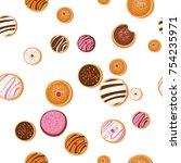 hanukkah doughnut   jewish... | Shutterstock .eps vector #754235971