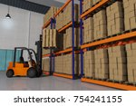 a forklift with a pallet full... | Shutterstock . vector #754241155