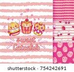 sweet kitten shaped cupcakes...   Shutterstock .eps vector #754242691