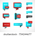 vector stickers  price tag ... | Shutterstock .eps vector #754244677