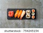 overhead shot of japanese sushi   Shutterstock . vector #754245154