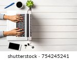 female hands working on modern... | Shutterstock . vector #754245241