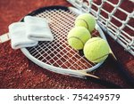 tennis game. tennis ball with... | Shutterstock . vector #754249579