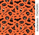 seamless pattern with halloween ... | Shutterstock .eps vector #754254391
