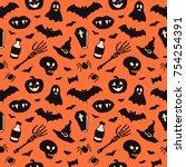 seamless pattern with halloween ... | Shutterstock .eps vector #754254391
