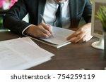 business concept  businessman... | Shutterstock . vector #754259119
