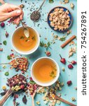 two cups of healthy herbal tea...   Shutterstock . vector #754267891