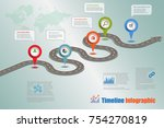 business road map timeline... | Shutterstock .eps vector #754270819