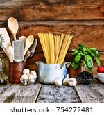 set for italian pasta on a... | Shutterstock . vector #754272481