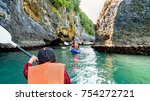 group of tourists on a kayak...   Shutterstock . vector #754272721