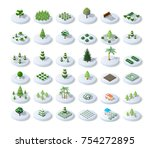 winter snowy christmas set icon ... | Shutterstock .eps vector #754272895