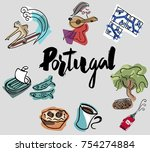hand writing portugal with... | Shutterstock .eps vector #754274884