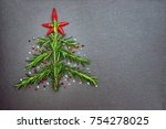 christmas background with green ... | Shutterstock . vector #754278025