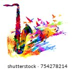 music background with saxophone | Shutterstock .eps vector #754278214