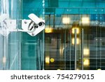 security surveillance system at ... | Shutterstock . vector #754279015