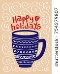cute christmas card with a... | Shutterstock .eps vector #754279807
