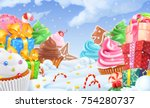 cupcake  gift box. winter sweet ... | Shutterstock .eps vector #754280737