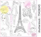 hand drawn collection of... | Shutterstock . vector #75428245