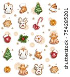 pattern of christmas... | Shutterstock . vector #754285201