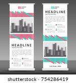 blue pink roll up banner... | Shutterstock .eps vector #754286419