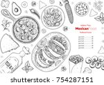 mexican food top view frame. a... | Shutterstock .eps vector #754287151