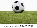 soccer ball on grass isolated... | Shutterstock . vector #754289551
