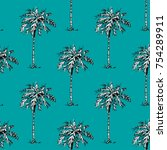 palm tree pattern seamless... | Shutterstock .eps vector #754289911