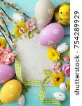 easter eggs and photo frame   Shutterstock . vector #754289929