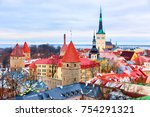 cityscape with st olaf church... | Shutterstock . vector #754291321