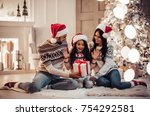 merry christmas and happy new... | Shutterstock . vector #754292581