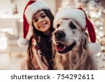merry christmas and happy new... | Shutterstock . vector #754292611