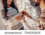 merry christmas and happy new... | Shutterstock . vector #754292635