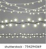 christmas lights isolated on... | Shutterstock .eps vector #754294369
