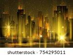 abstract modern  futuristic ...   Shutterstock . vector #754295011