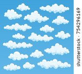 white clouds cartoon isolated... | Shutterstock .eps vector #754296169
