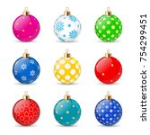 set of color christmas balls on ... | Shutterstock .eps vector #754299451