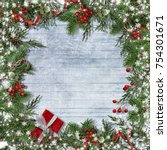 christmas background with frame ... | Shutterstock . vector #754301671