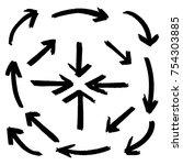 handdrawn set of vector arrows... | Shutterstock .eps vector #754303885