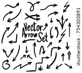 handdrawn set of vector arrows... | Shutterstock .eps vector #754303891
