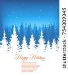 winter forest landscape vector... | Shutterstock .eps vector #754309345