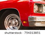 close up of the front headlight ... | Shutterstock . vector #754313851
