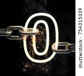 number zero  on the steel chain ... | Shutterstock . vector #754315339